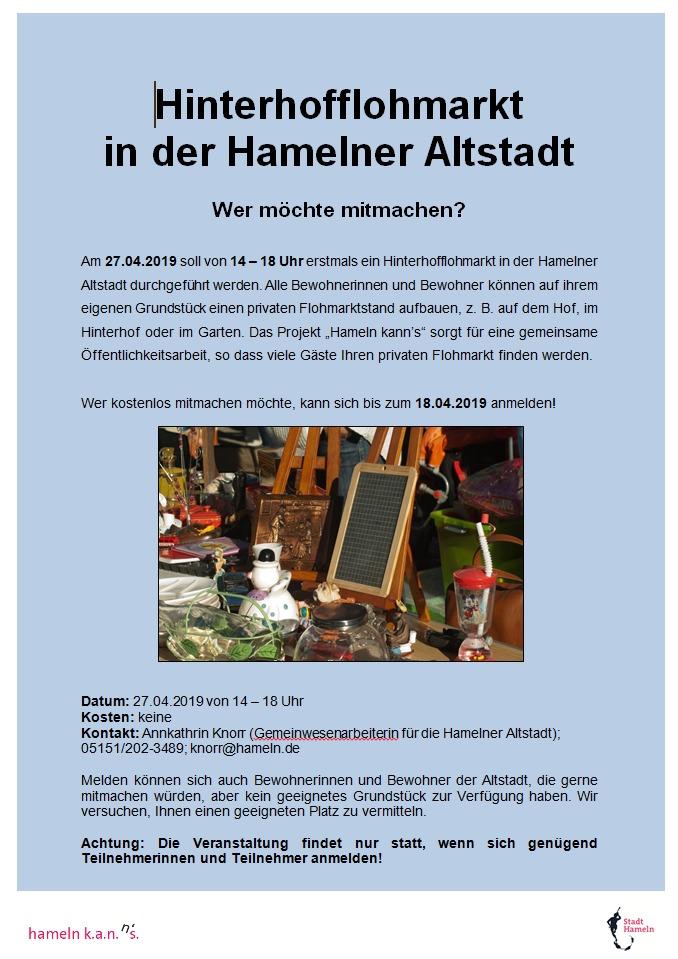 Hinterhofflohmarkt In Der Hamelner Altstadt Wer Mochte